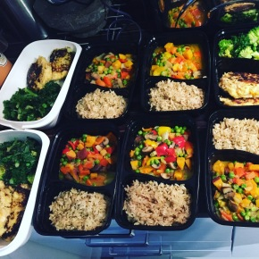 Meal Prep Idea: Green Thai Veggie Curry with Brown Rice and Fish Cakes with Mixed Greens